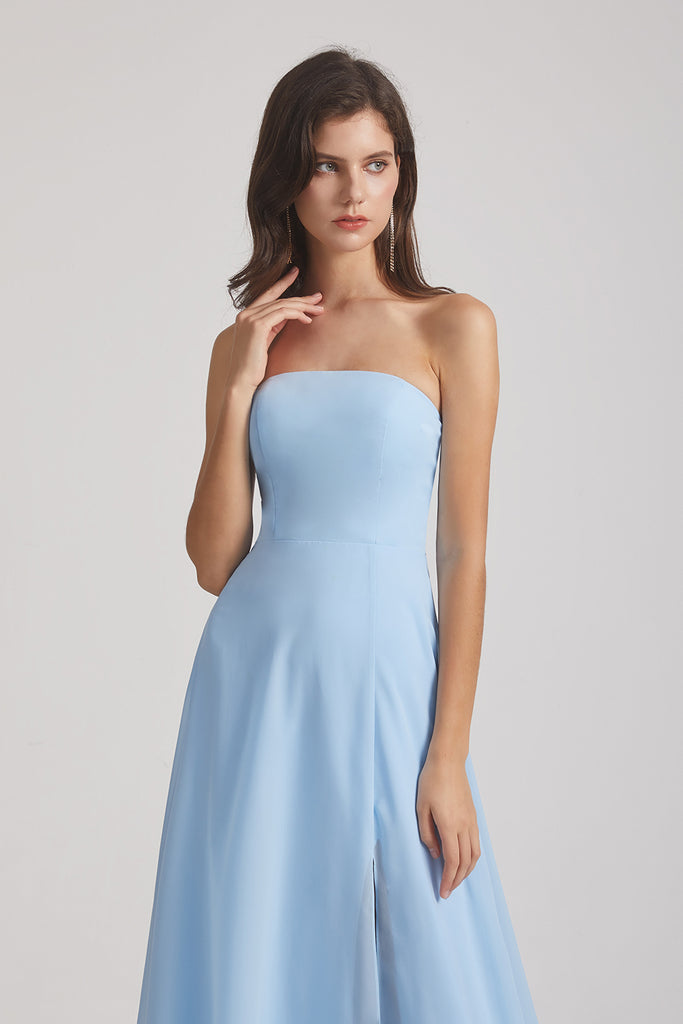 sky blue strapless chiffon bridesmaid dress