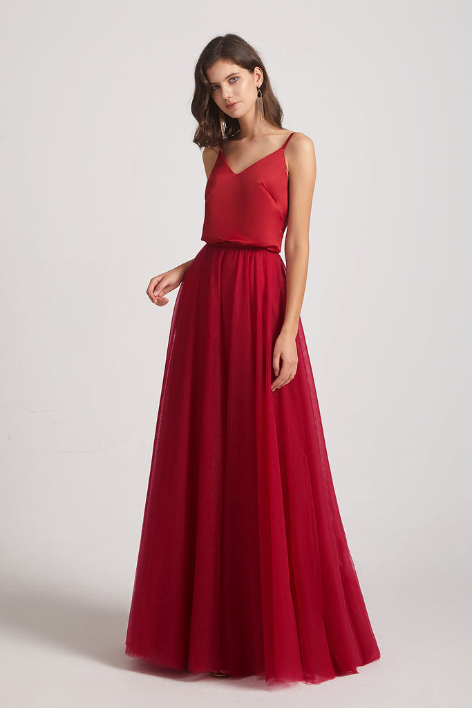 a-line maxi bridesmaids dress