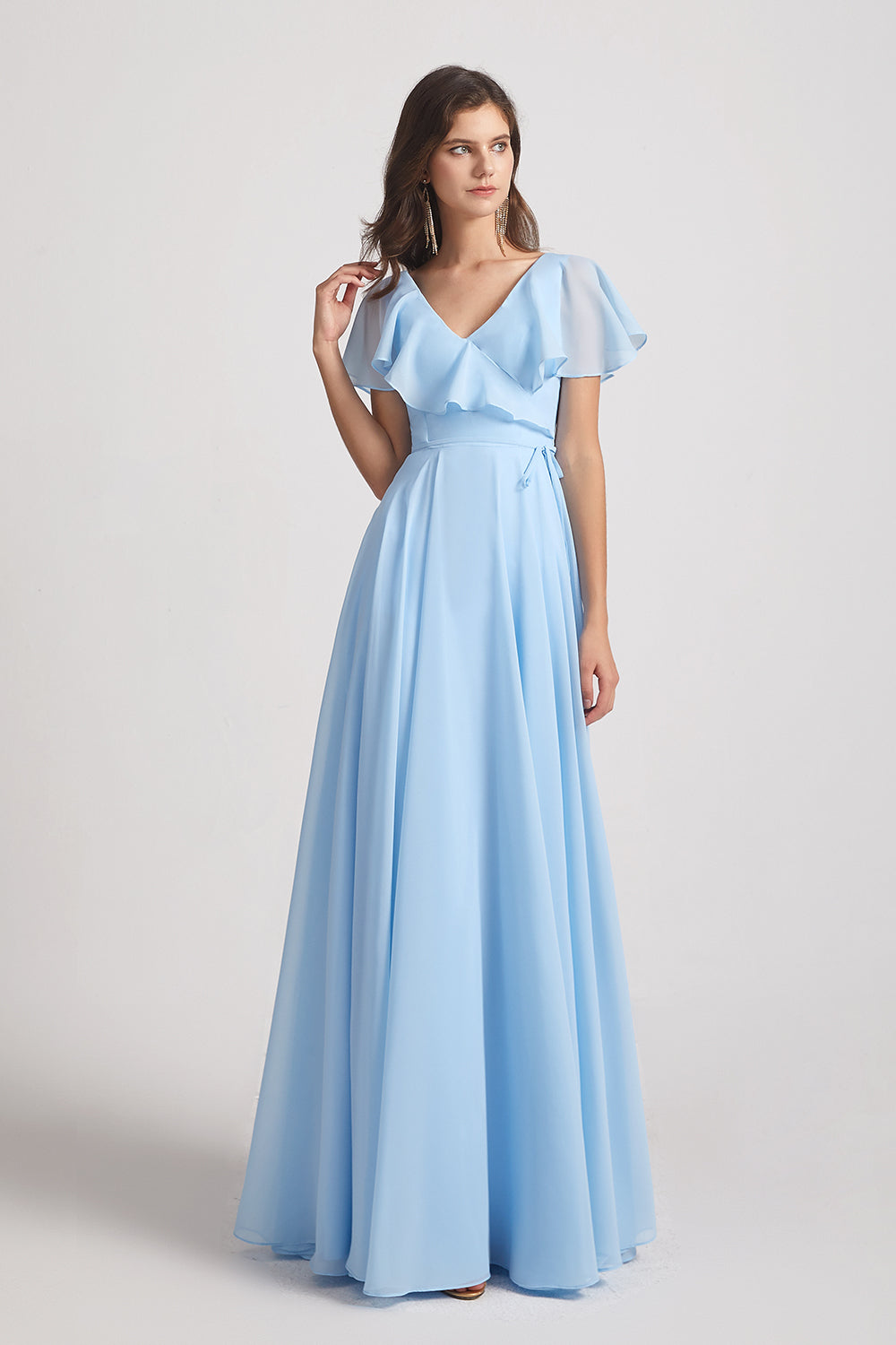 flutter sleeve boho chiffon cheap bridesmaids dresses
