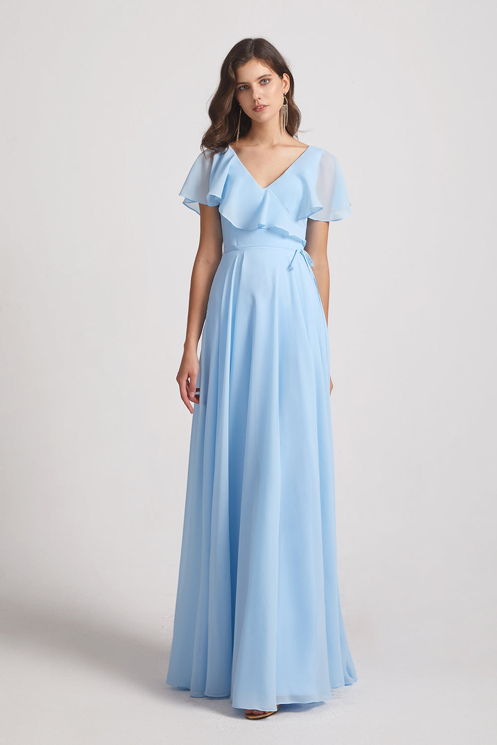 a-line blue long chiffon bridesmaid gowns