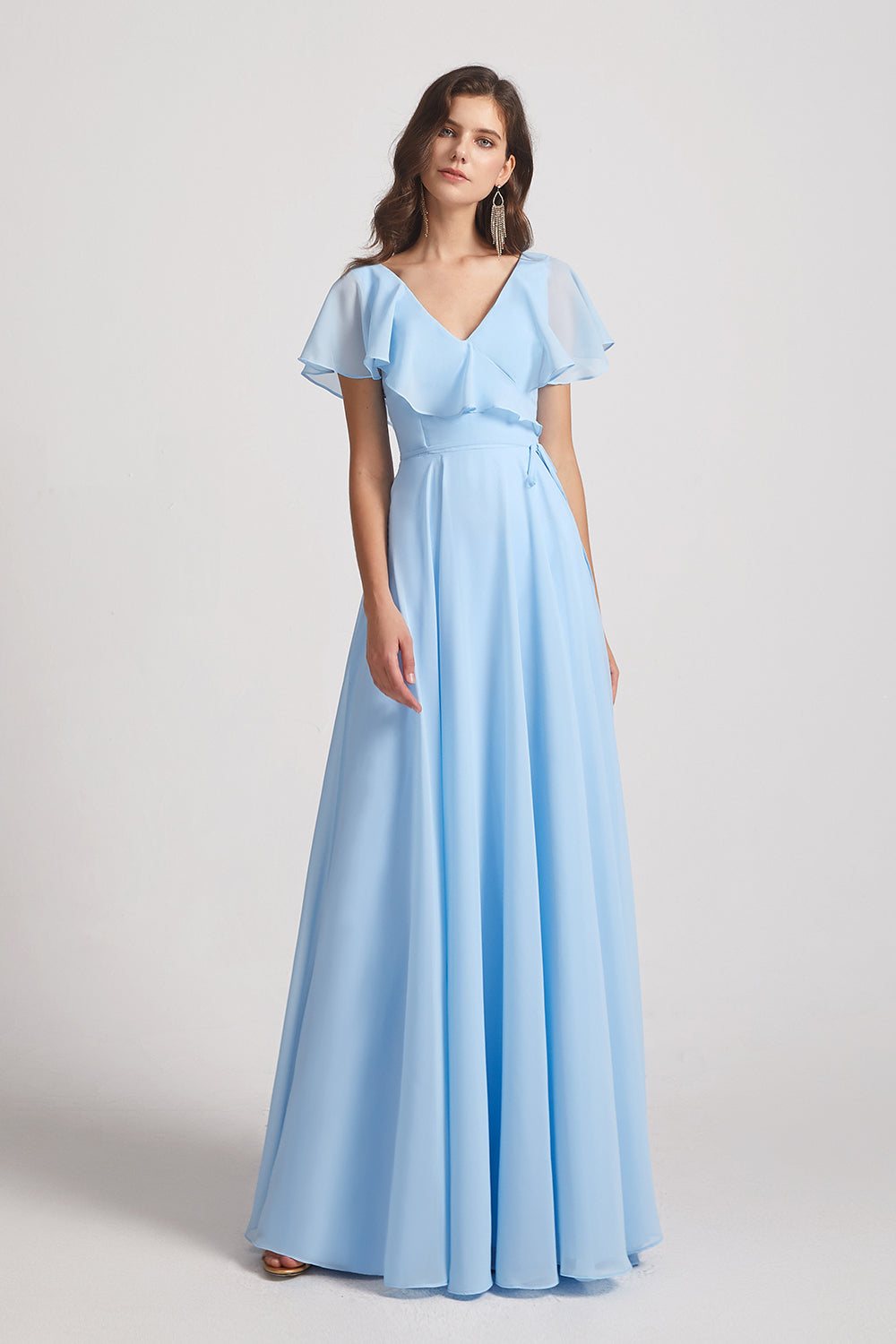 ruched a-line maxi chiffon bridesmaids dress