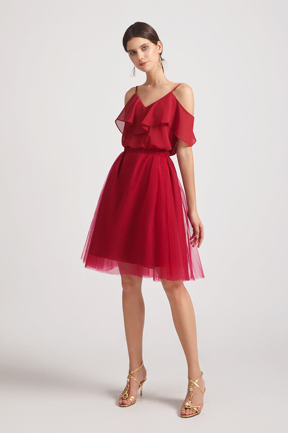 red spaghetti straps chiffon bridesmaid dresses