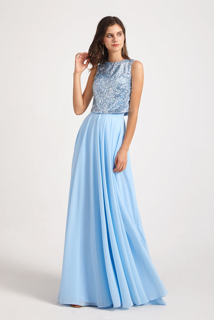 sequin top blue maid of honor dresses