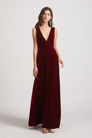 minimalist velvet bridesmaid dress