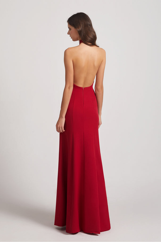 red hot open back bridesmaid gowns