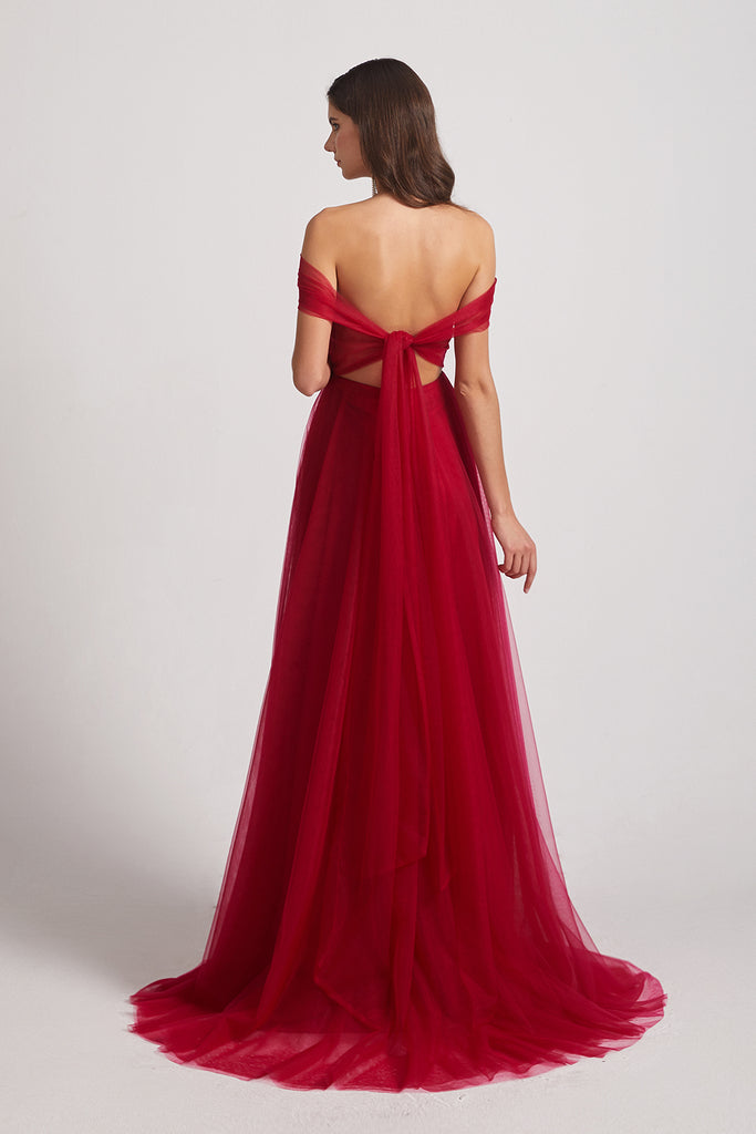 open back tulle bridesmaid gowns