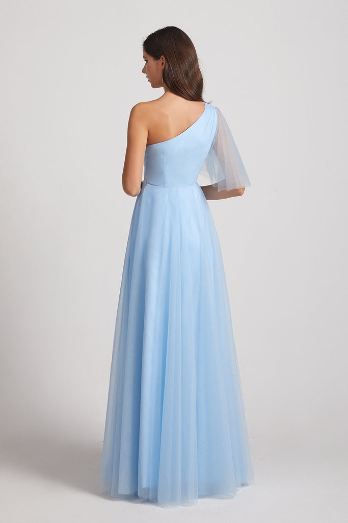 blue one shoulder maxi maid of honor dress