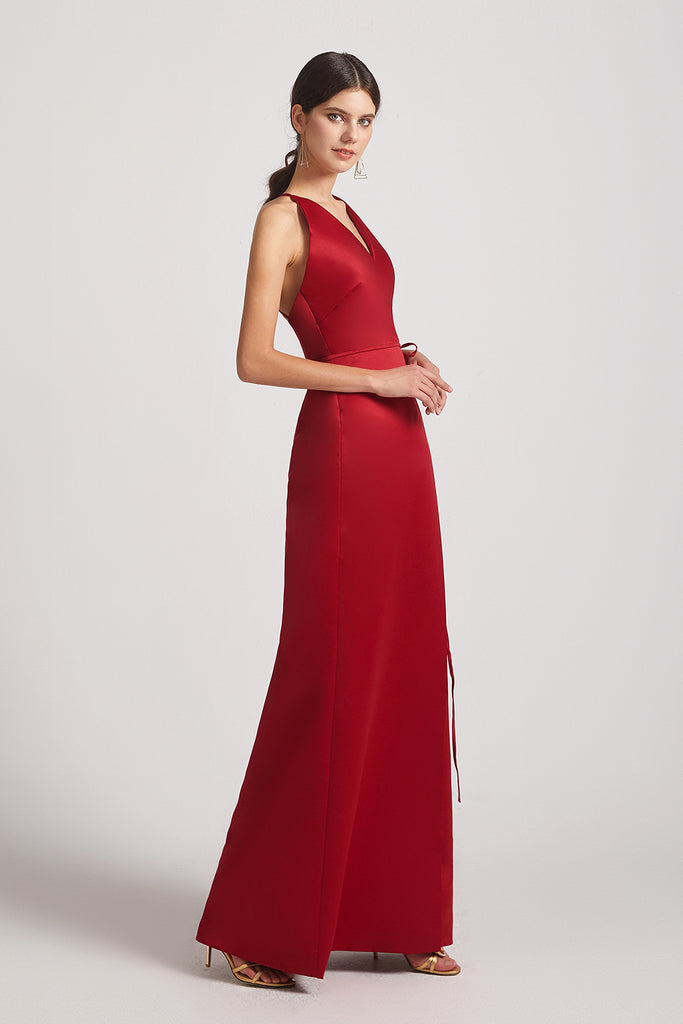 alluring long red satin bridesmaid dresses