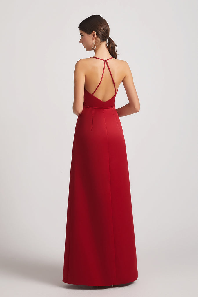 open back satin maxi bridesmaid gowns