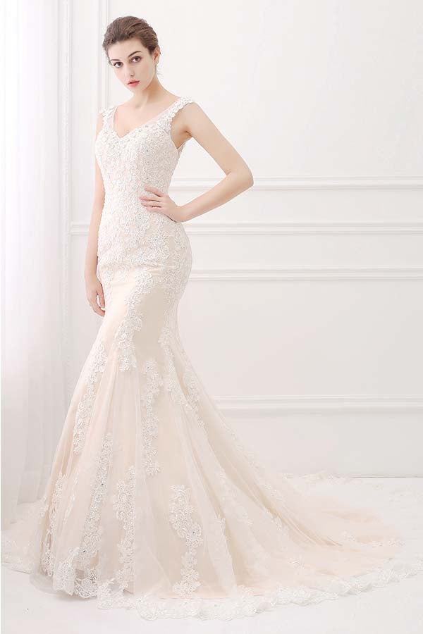 wide straps champagne ivory bridal gown