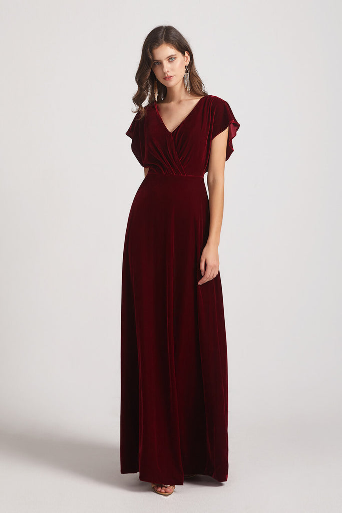 Velvet Flutter Sleeve Bridesmaid Dresses