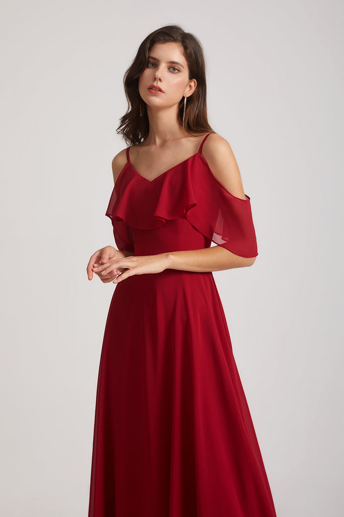 straps off the shoulder chiffon gown