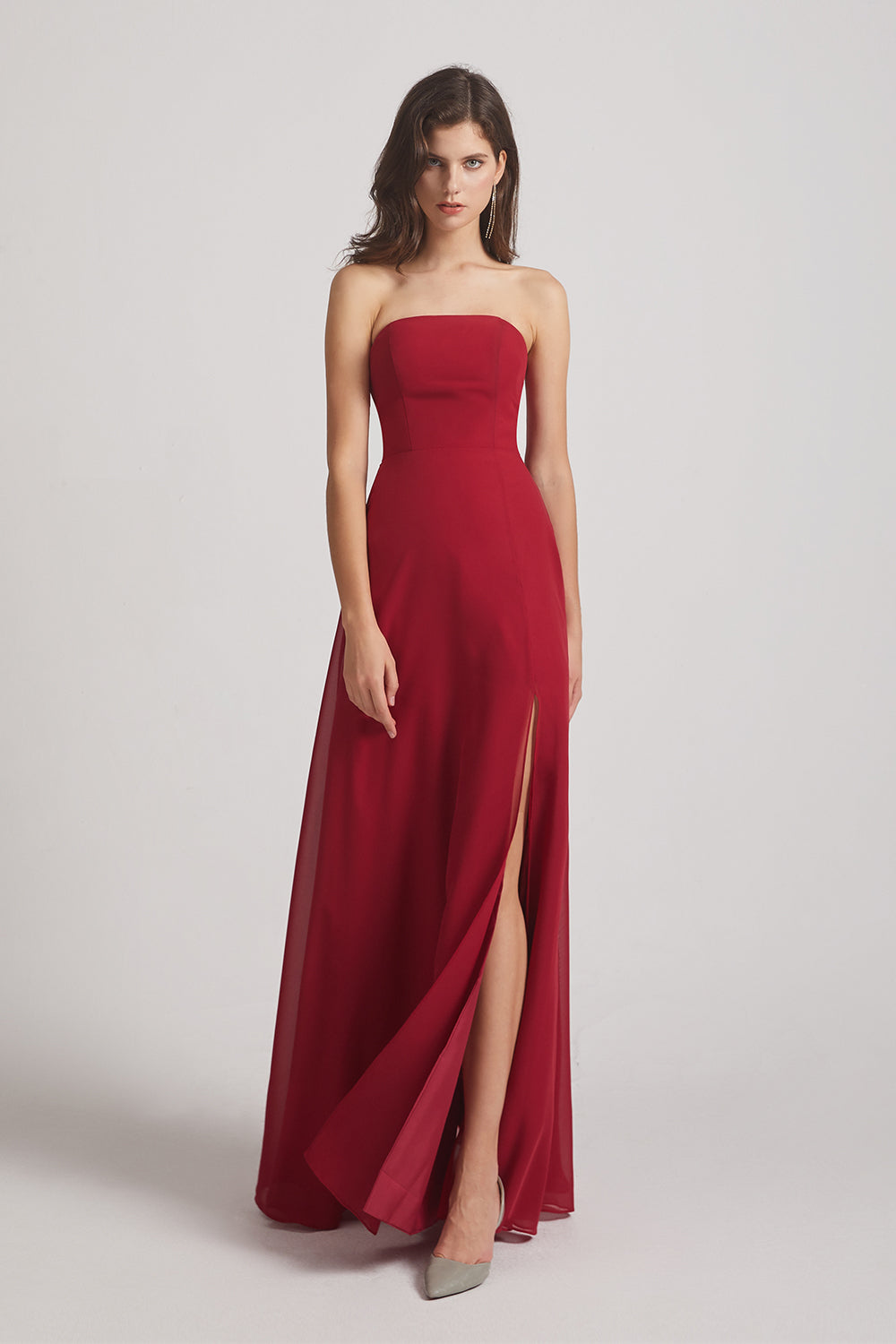 affordable red long chiffon bridesmaid gown