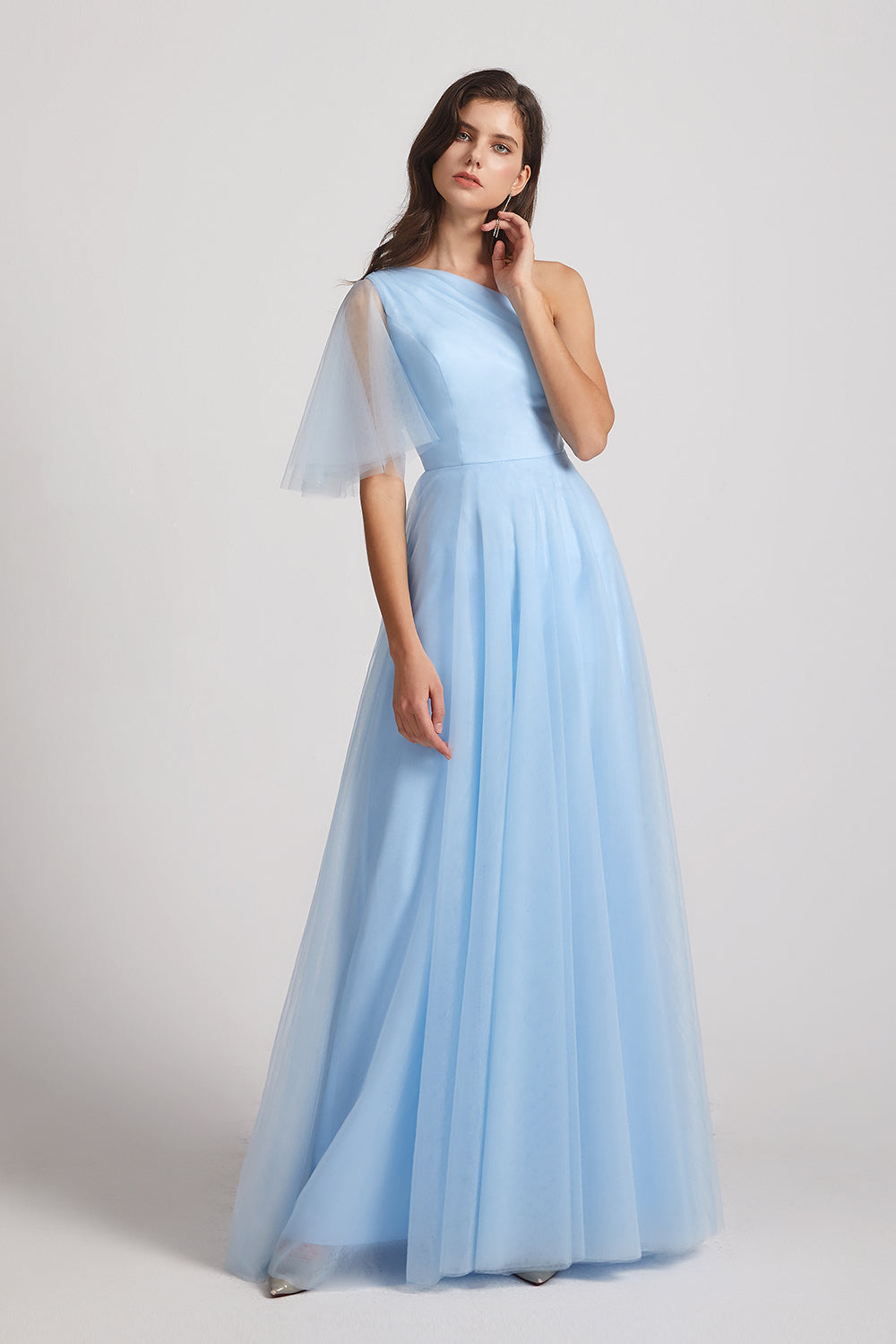 flutter sleeve tulle blue bridesmaid gown