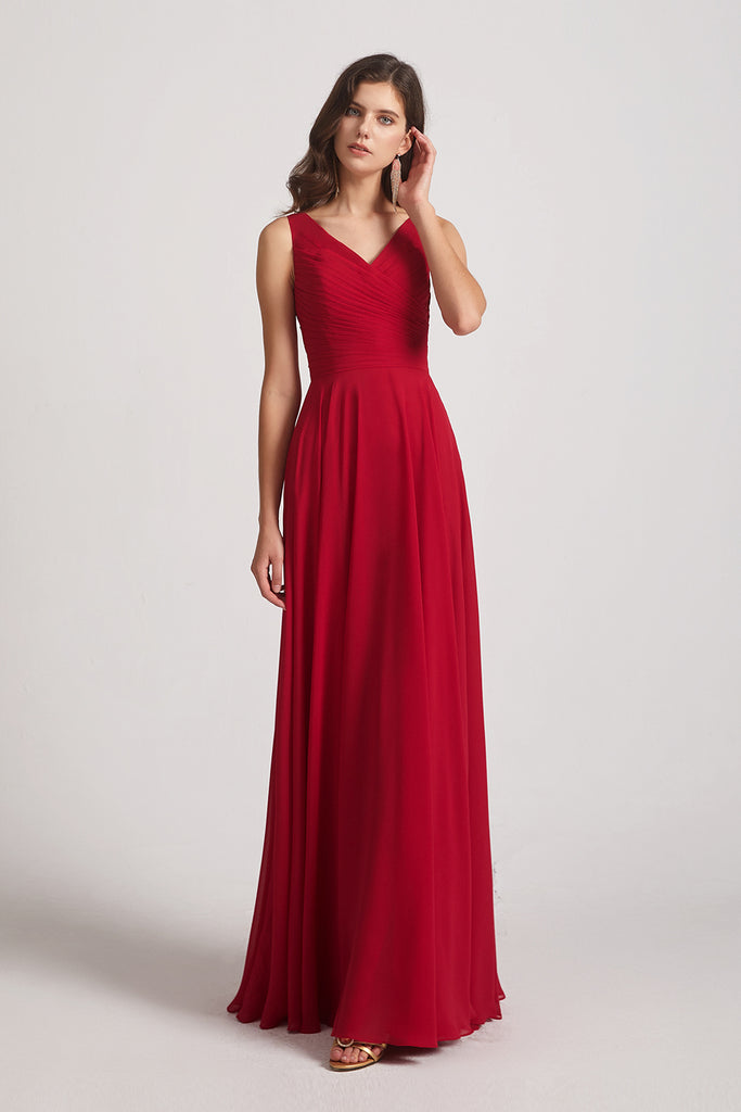 v-neck pleated a-line bridesmaid dresses