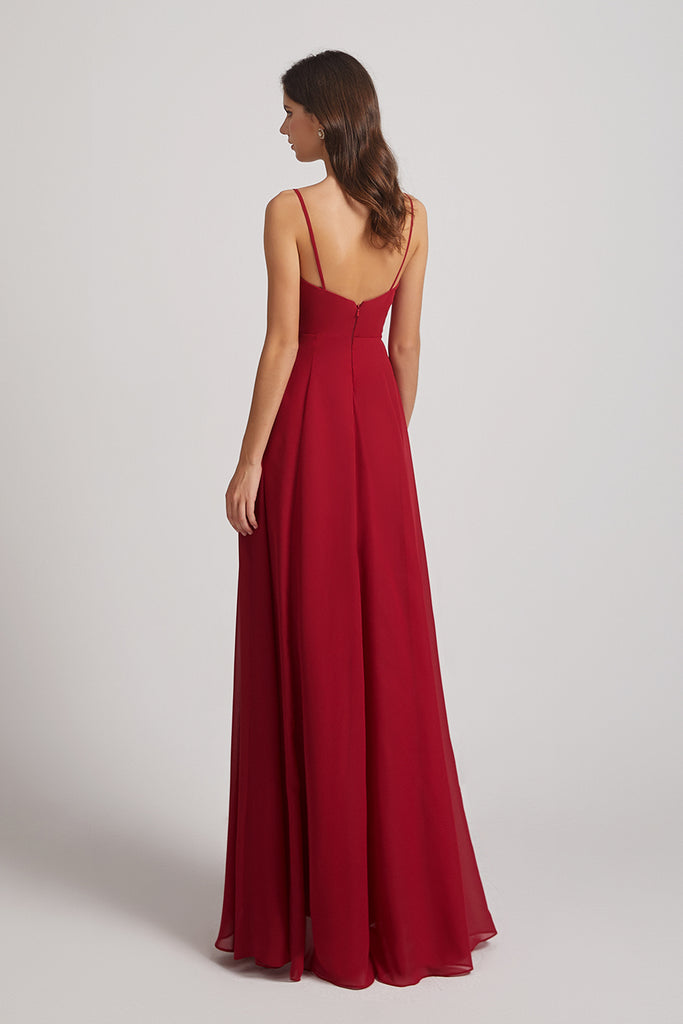 chiffon backless bridesmaid dresses