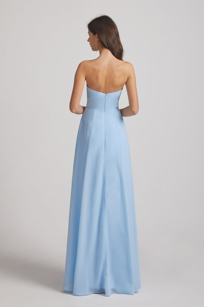 chiffon backless long bridesmaids gowns