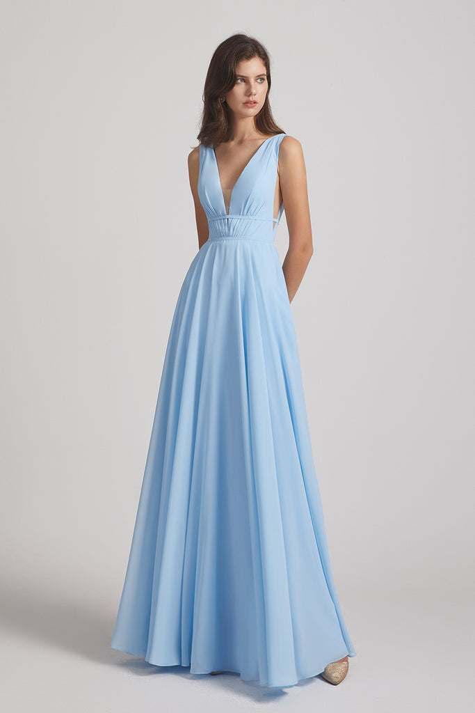 decent priced V-neck bridesmaids dresses