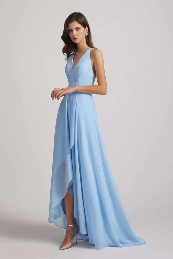 sky blue chiffon high low bridesmaid dresses