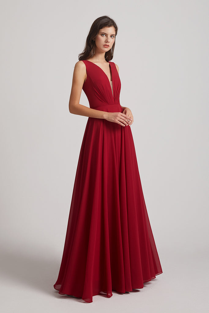 chiffon pleated bridesmaids dresses
