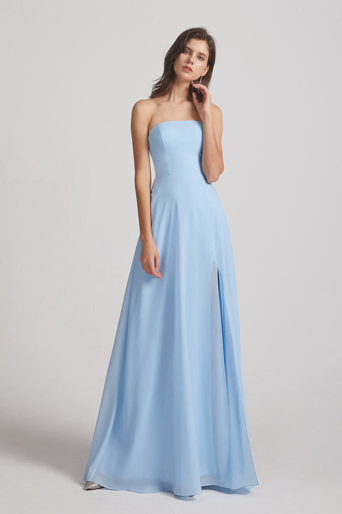 chiffon split maxi bridesmaid gowns