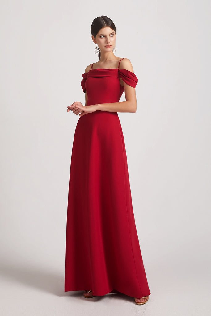 off the shoulder a-line satin bridesmaids gown
