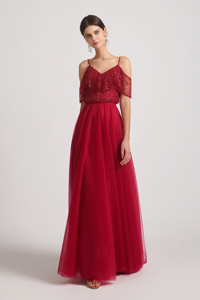 sequin a-line maxi maid of honor dresses