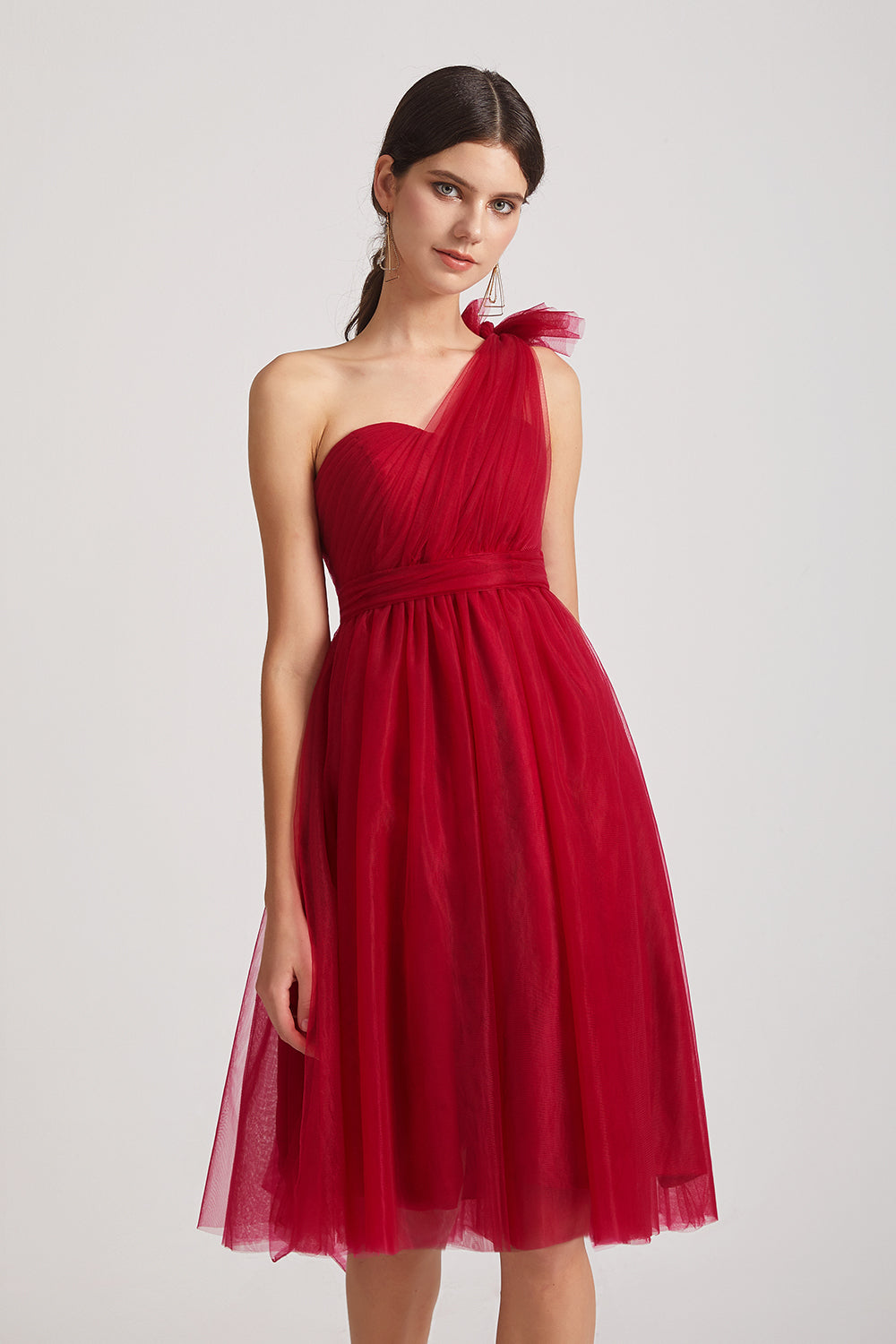 red tulle convertible maid of honor dresses