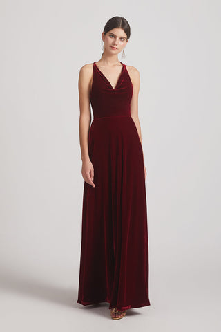 Velvet Cowl Neck Bridesmaid Dresses