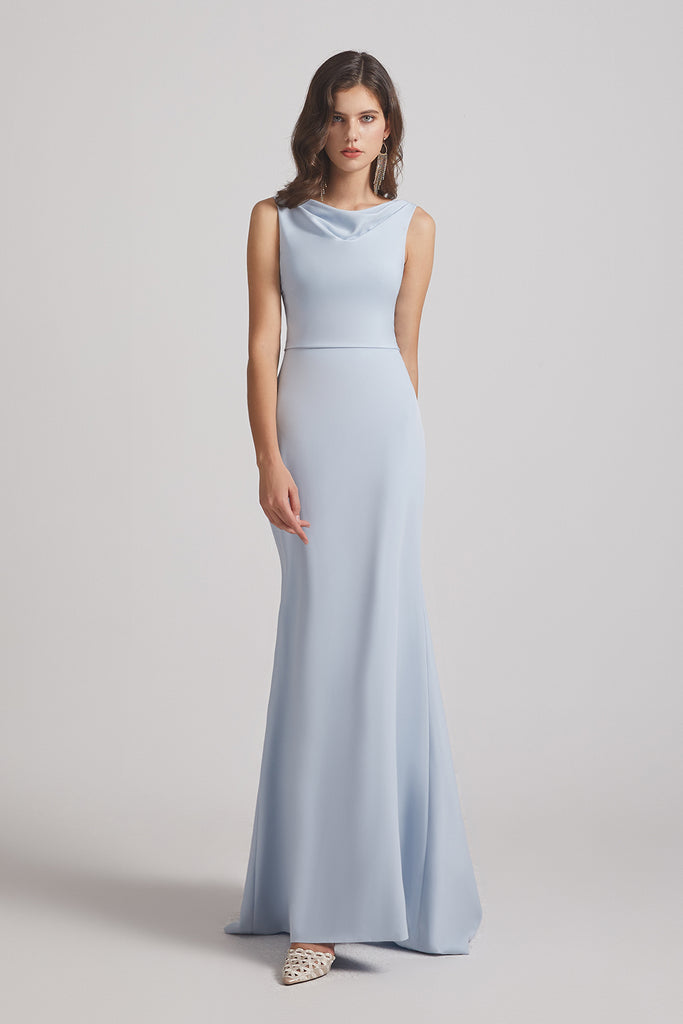 cowl sheath flowy blue bridesmaids dresses