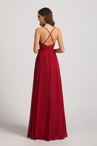 criss-cross back bridesmaids gowns