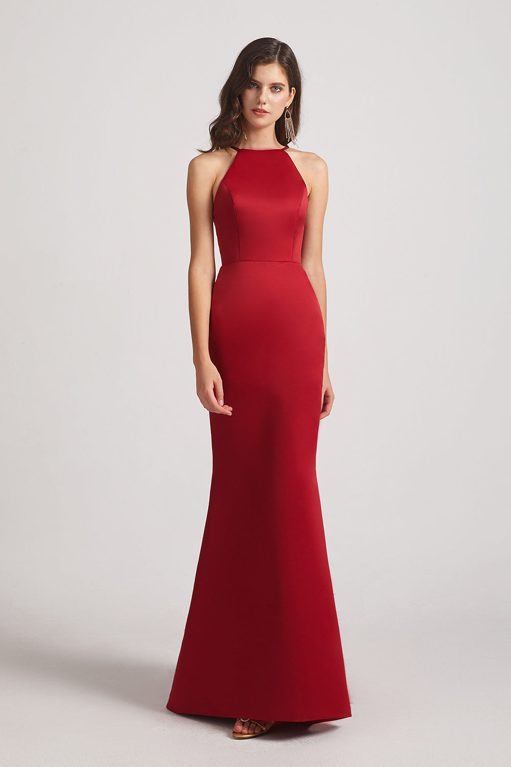 red halter satin bridesmaids dress