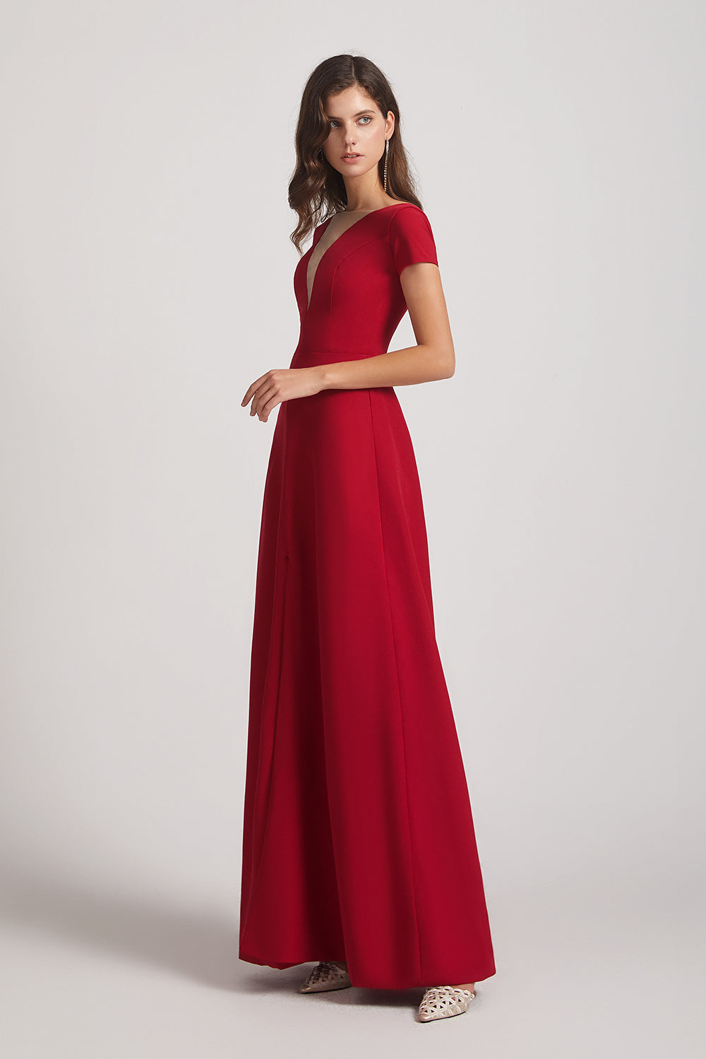 short sleeve long bridesmaid dress