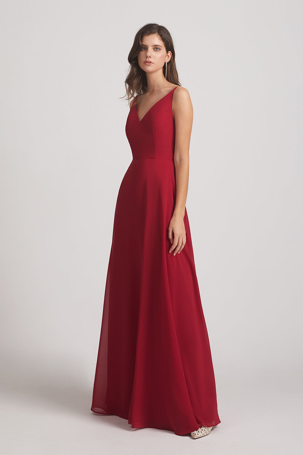 red long a-line maids of honor dresses