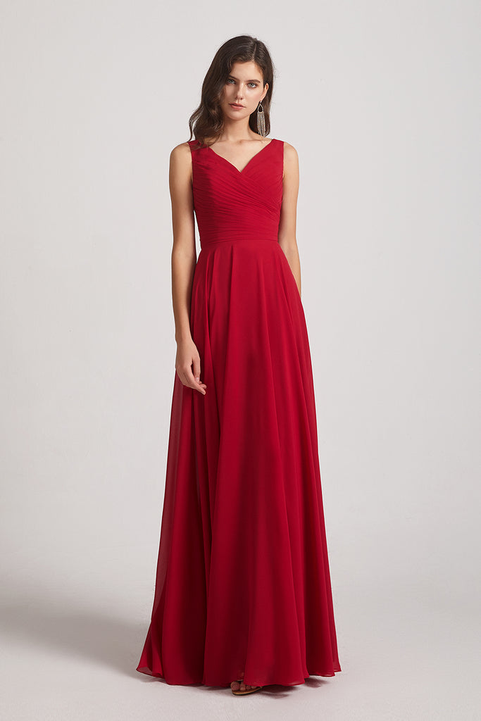 v-neck ruffles cheap bridesmaids dresses