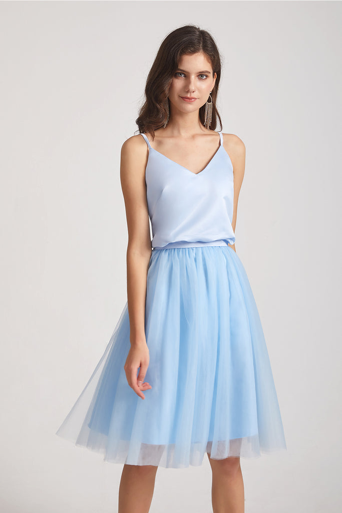 satin top short maid of honor dresses