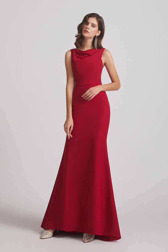 cowl sleeveless trumpet maxi bridesmaid gown