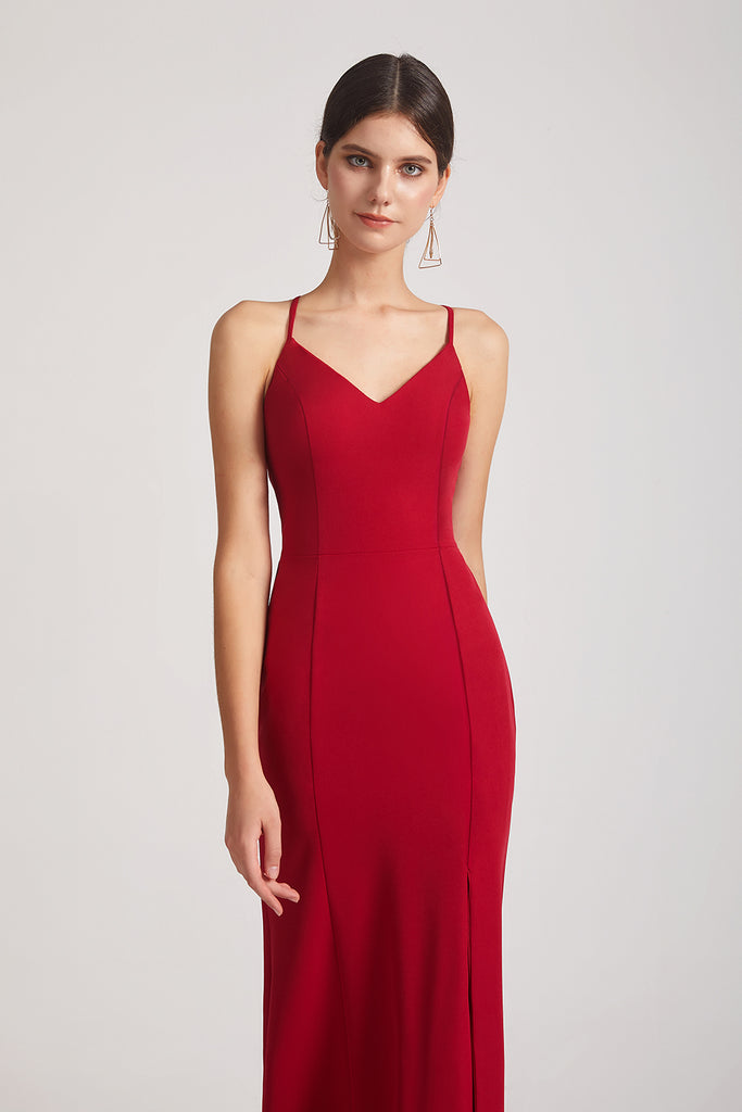 red spaghetti straps fitted bridesmaid dresses