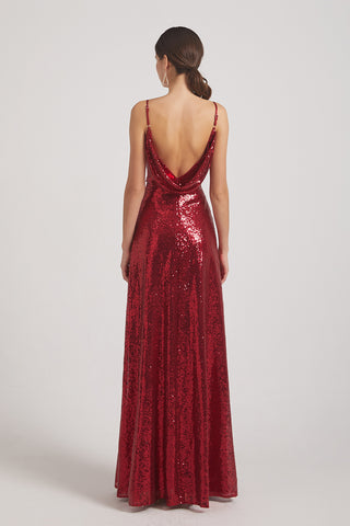 Draped Back Sequin Bridesmaid Dresses