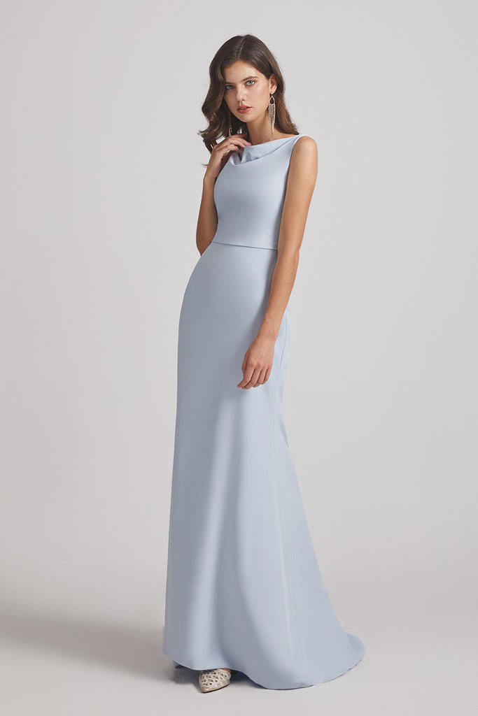 blue fit and flare bridesmaid dress