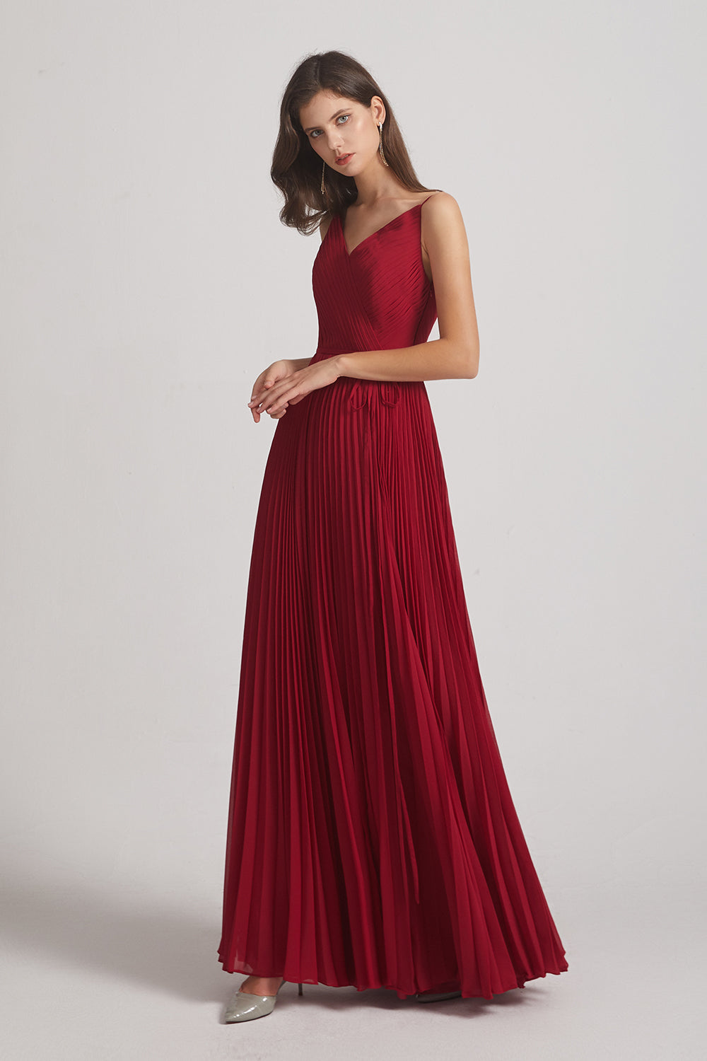 luxurious v neck long bridesmaid gown