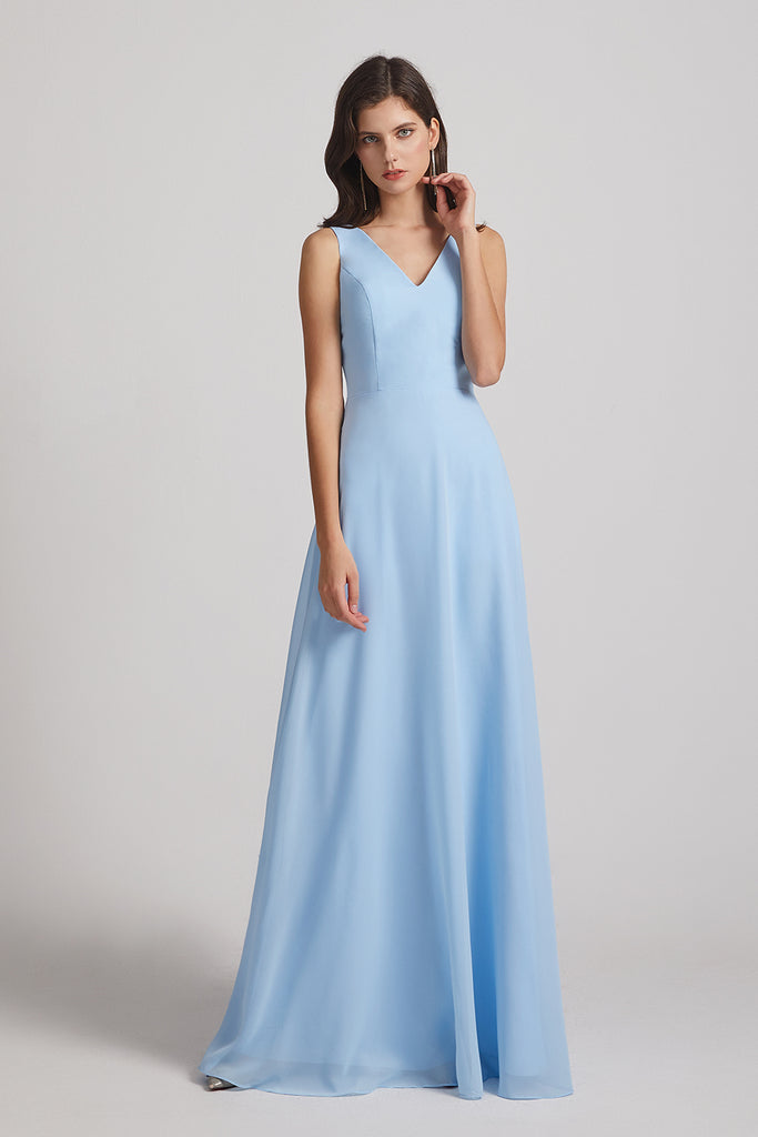 long blue maids of honor dresses