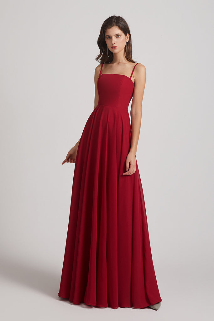 long pleated bridesmaid dress
