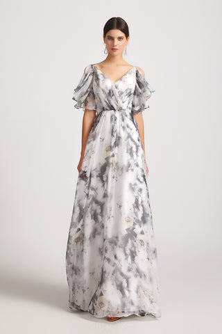 floral bridesmaid dress maxi affordable  chiffon