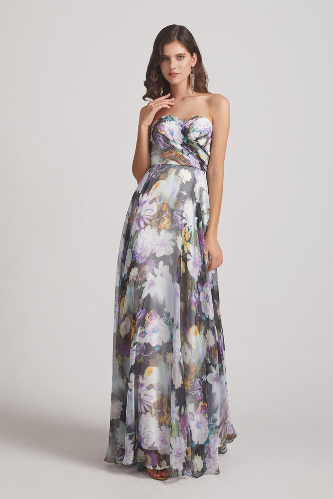 sleeveless floral a-line maid of honor dress
