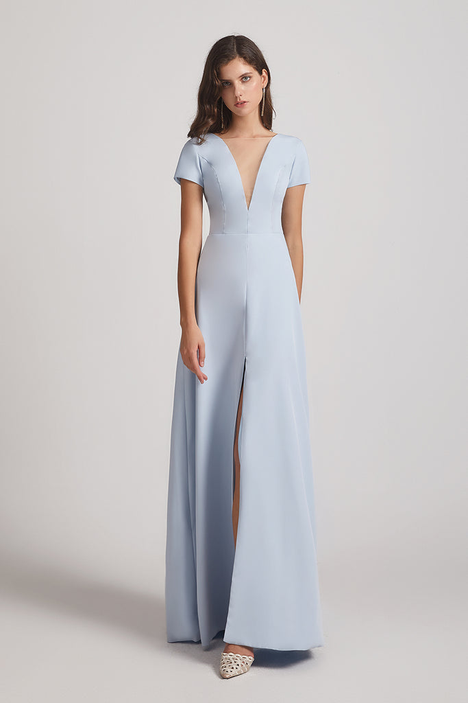 illusion v-neck  front slit bridesmaids dresses