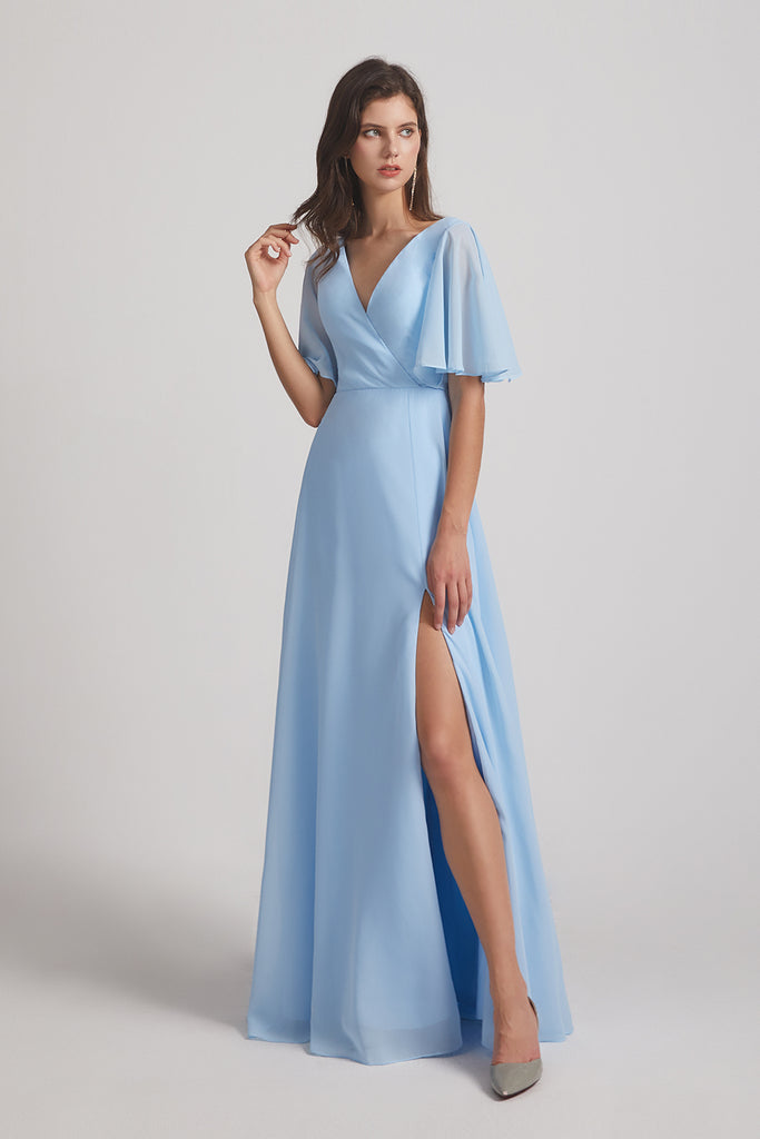 half flutter sleeve split-side long chiffon gowns