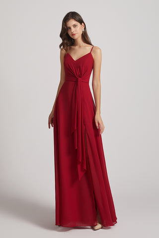 dramatic side split bridesmaids dress