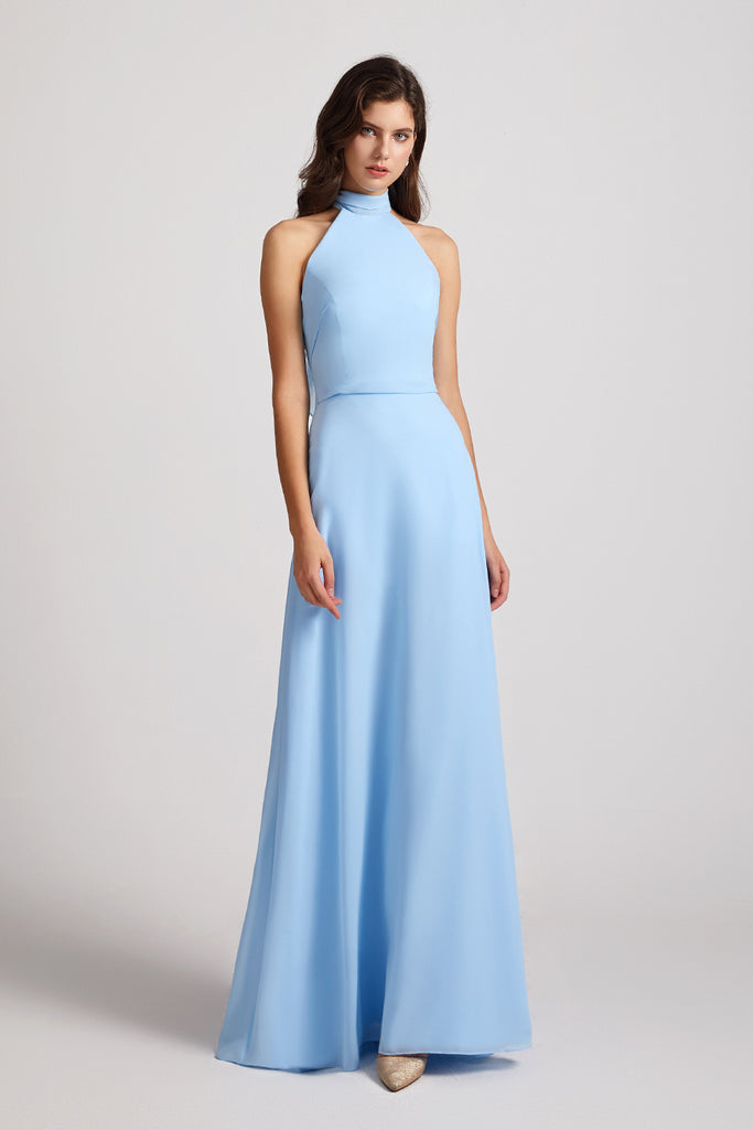 halter floor length chiffon bridesmaid gowns