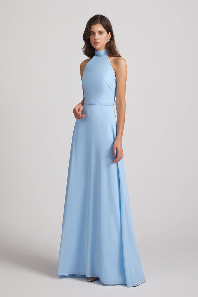 halter sky blue maids of honor dresses